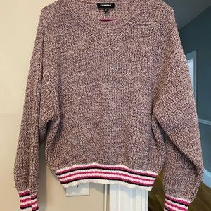 Express Marled Striped Trim Pullover Sweater